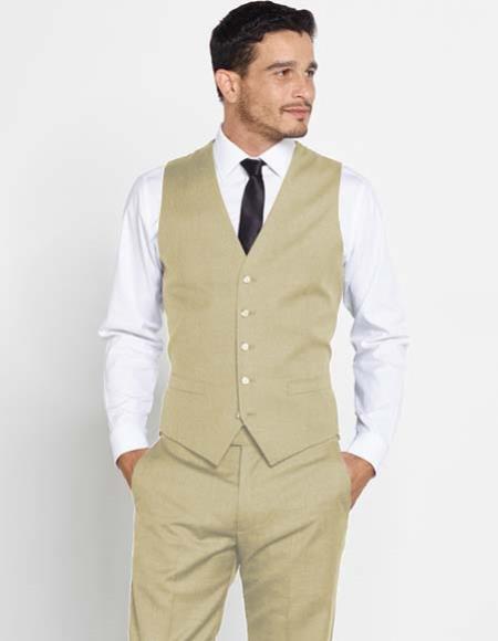 Mens Vest Matching Solid Dress Pants Set + Any Color Shirt & Tie Regular Fit Sand