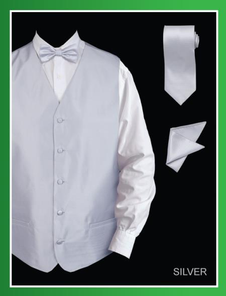 Mens 4 Piece Dress Tuxedo Wedding Vest ~ Waistcoat ~ Waist coat Set (Bow Tie, Neck Tie, Hanky) - Twill patterned Silver