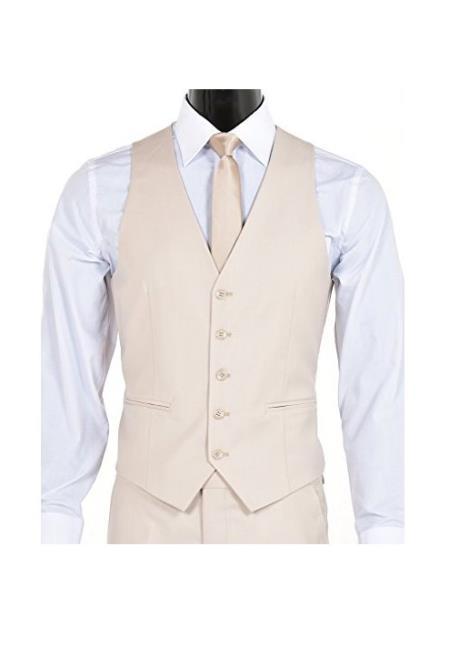 Men's Slim Fit 5 Button Vest Light Tan