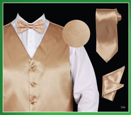 Mens 4 Piece Dress Tuxedo Wedding Vest Set (Bow Tie, Neck Tie, Hanky) - Satin Tan ~ Beige