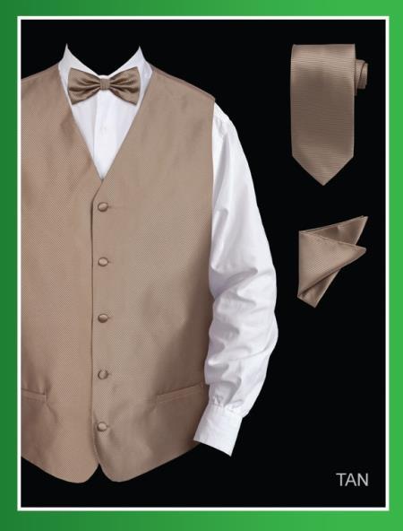 Men's 4 Piece Dress Tuxedo Wedding Vest ~ Waistcoat ~ Waist coat Set (Bow Tie, Neck Tie, Hanky) - Twill patterned Tan ~ Beige