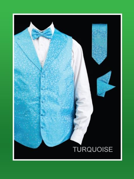 Men's Turquoise ~ Light Blue Stage Party Four Piece Lapelled Groomsmen Dress Tuxedo Wedding Vest ~ Waistcoat ~ Waist coat Set (Bow Tie, Neck Tie, Hanky)