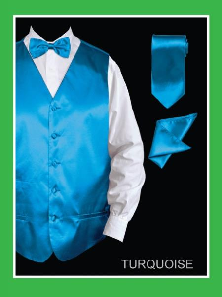 Mens 4 Piece Dress Tuxedo Wedding Vest ~ Waistcoat ~ Waist coat Set (Bow Tie, Neck Tie, Hanky) - Satin turquoise ~ Light Blue Stage Party