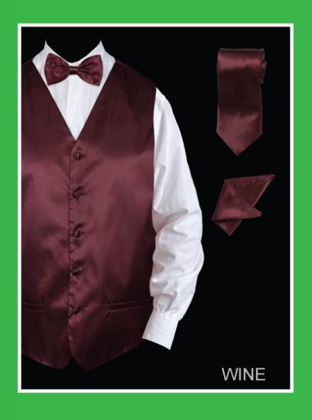 Men's 4 Piece Dress Tuxedo Wedding Vest ~ Waistcoat ~ Waist coat Set (Bow Tie, Neck Tie, Hanky) - Satin Wine