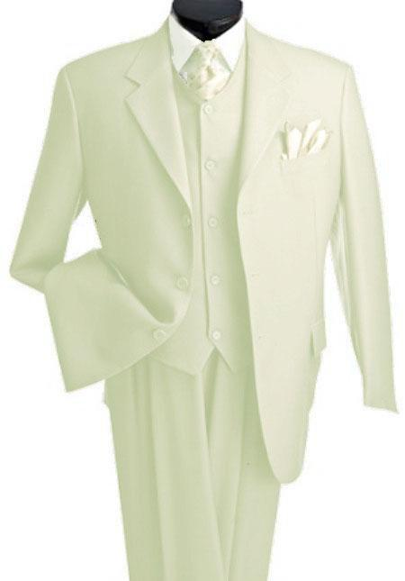 3 Piece Premium Cream ~ Ivory 2 Button Style Notch Lapel three piece suit vested suit