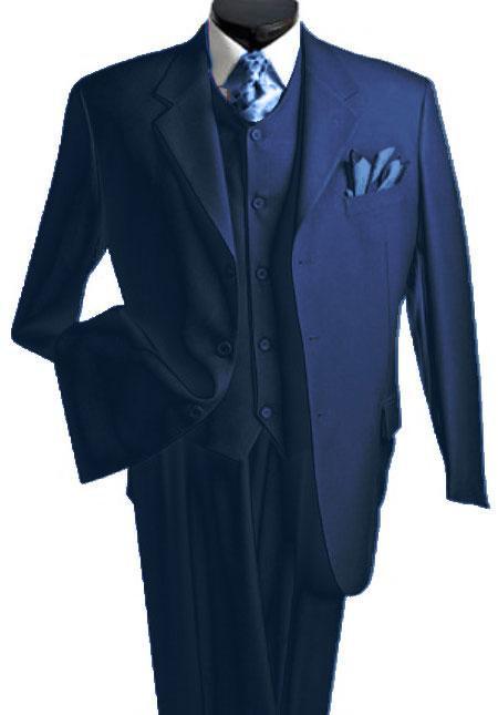 Mens 3 Piece Dark Navy Blue Suit For Men Three Piece Vested Suit