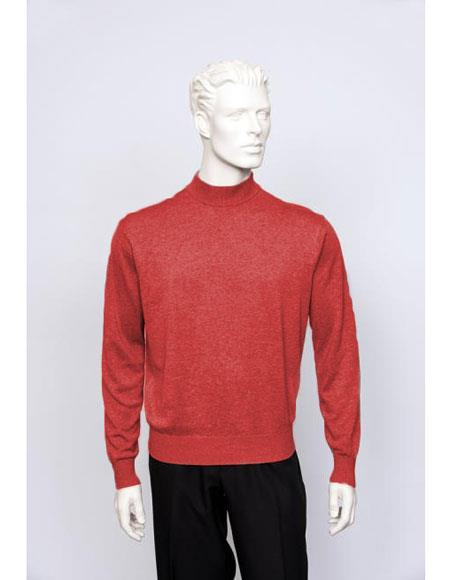 Mens Long Sleeve Flame Mock Neck Fine Gauge Knit Sweater set Available in Big And Tall Sizes