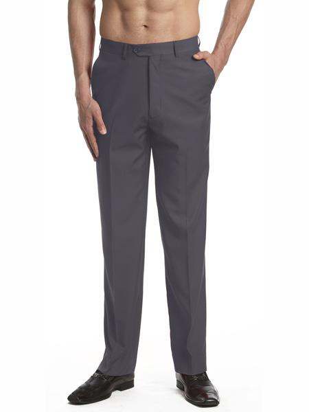 Men s Solid Charcoal Gray Dress Pants Trousers Slacks