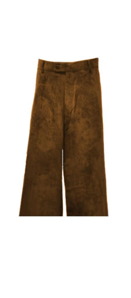 Corduroy Brown Pants Slacks For Men unhemmed unfinished bottom