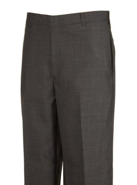 American USA Made Plaid Flat Front Dress Pants unhemmed unfinished bottom