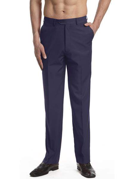 Mens Dress Pants Trousers Flat Front Slacks Solid Navy Blue