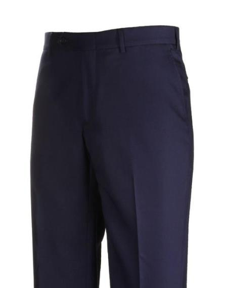 American USA Made H-Tech  Flat Front Navy Dress Pants unhemmed unfinished bottom