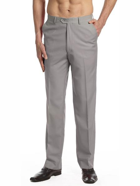 Mens Dress Pants Trousers Flat Front Slacks Solid Silver Grey