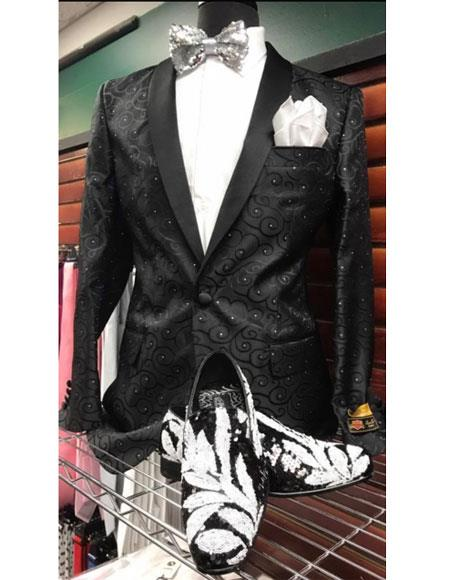Men's Floral Pattern Shawl Lapel 1 Button Black Shiny Suit