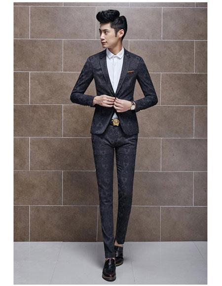 Men's 1 Button Black Suits