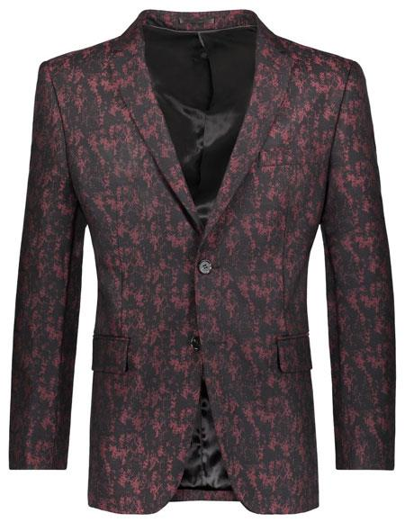 Mens Floral Pattern Slim Fit 2 Button Cheap Priced Designer Fashion Dress Casual Blazer For Men On Sale Burgundy ~ Wine ~ Maroon Color Blazer