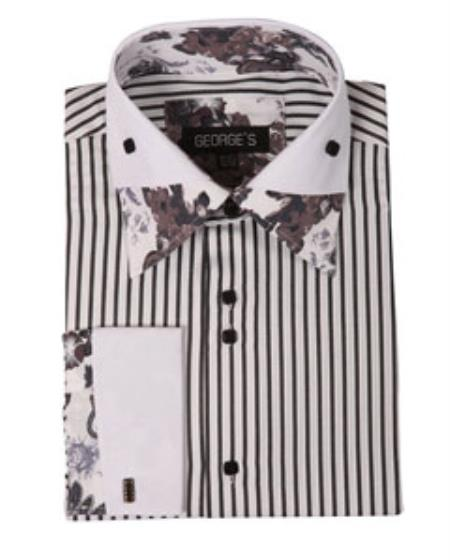 Buy SS-GQ23 Mens High Collar Club Black Stripe Floral Shirts