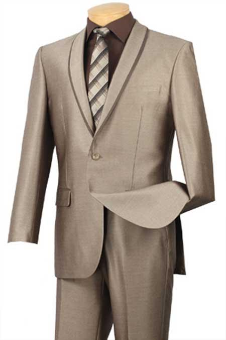 Shawl Collar Trimmed No Pleated Pants Tuxedo & Formal Slim Fit Suits Beige ~ Khaki ~ Tan