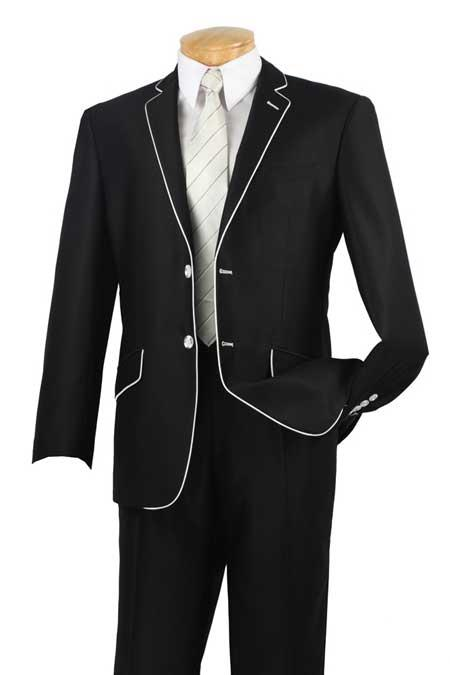 Tuxedo & Formal Mens Slim Fit Black White Trim Suits