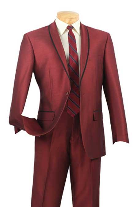 Shawl Collar Trimmed No Pleated Pants Tuxedo & Formal Slim Fit Suits Maroon