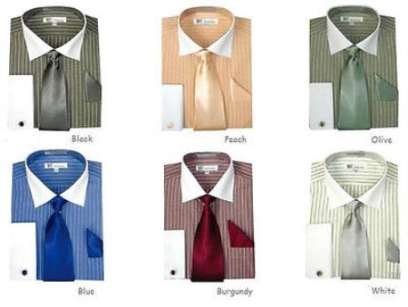 French Cuff Stylish Striped Formal Spread Collar Set Style White Collar Two Toned Contrast Multi-Color Men's Dress Shirt
