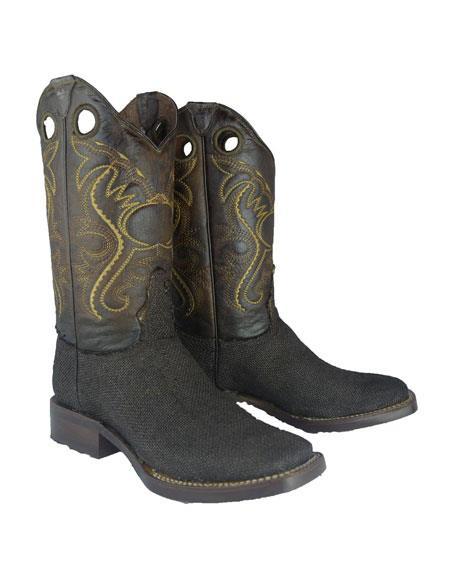 Men's Bota Rodeo Forrada Yute Mexican Cowboy Boot For Men Color Cafe