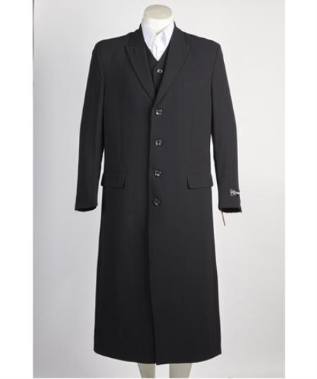 Mens 4 Button Vested Single Breasted Long Maxi Fashion Zoot Suit Black