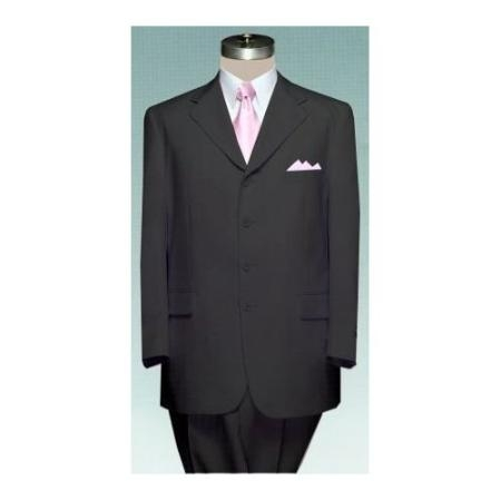 four buttons Mens 4 (four) button Single breasted BLACK Double Pleated Fully Lined Suit
