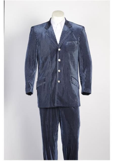 Mens 4 Button Cheap Priced Designer Fashion Dress Casual Suit Tone on Tone Strip Velvet Blazer & Pants Blue