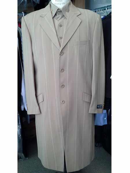 Men's 4 Button Khaki Striped Vested Long Zoot