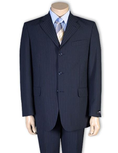 SKU#A63T Men's Available in 2 or 3 Buttons Style Regular Classic Cut or 4 Button Style Navy Blue Pinstripe Light Weight On Sale