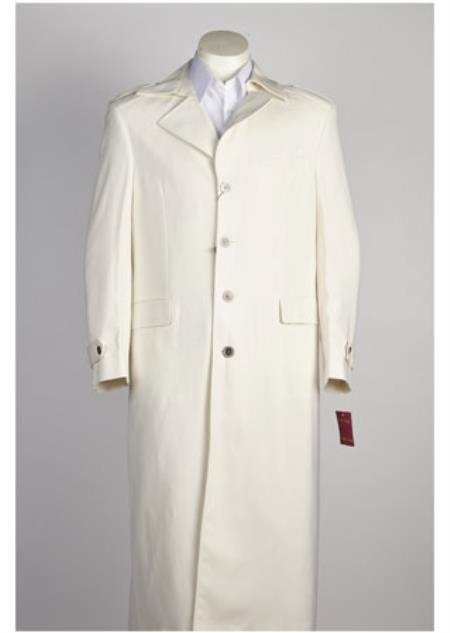 Mens Long 4 Button Off All White Zoot Suit - Pimp Suit - Zuit Suit For Men