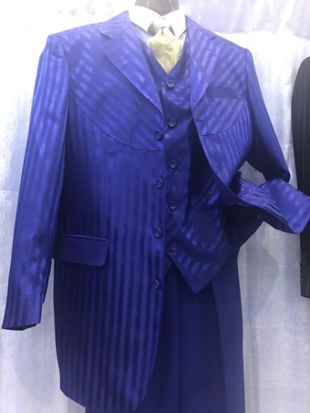 Milano Moda Royal Blue Men's Pinstripe High Fashion Vested Dress Zoot Suit - Pimp Suit - Zuit Milano Suit for Men