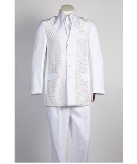 Mens 4 Button Single Breasted All White Suit For Men