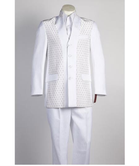 Men's 4 Button   All White Suit For Men