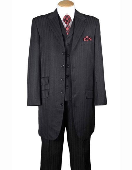Mens Black Notch Lapel 4 Buttons Tonal Striped Three Piece Vested Zoot Suit
