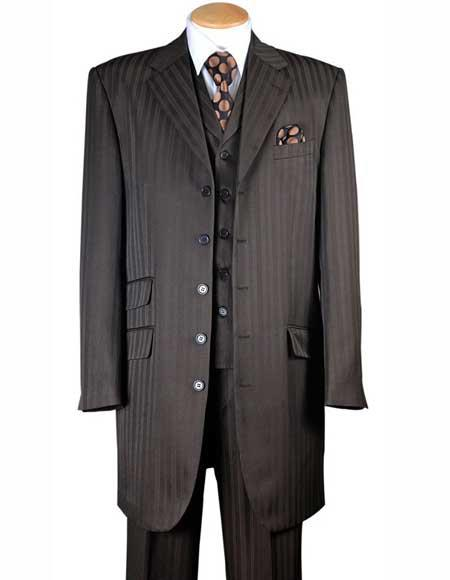 Mens Three Piece 4 Buttons Brown Tonal Striped Vested Zoot Suit