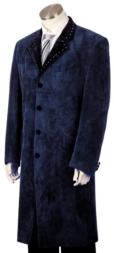 Mens Fashionable 4 Button Dark Navy Long Zoot Suit