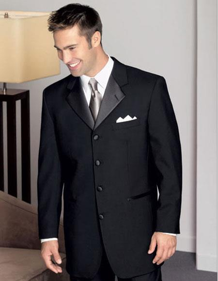 Buy CH506 Men's 100% Wool Black Tuxedo Four Buttons Style Notch Lapel Pleated Pants