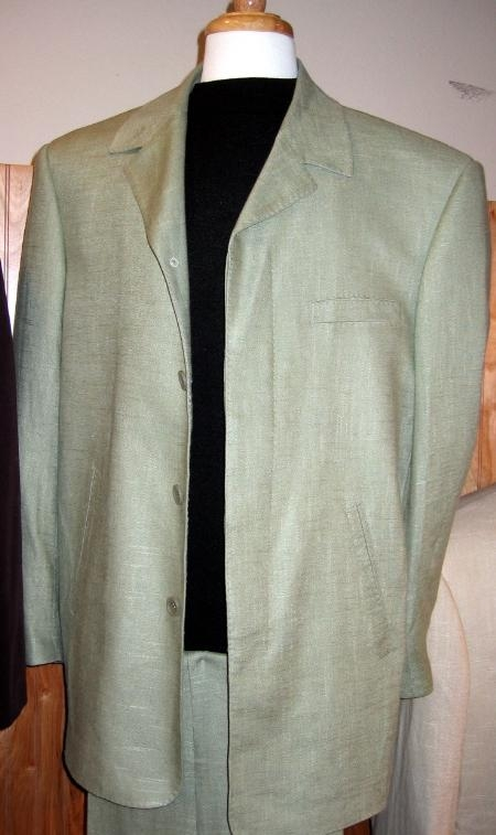 SKU#AD780 Four Hidden Button Linen Leisure Mens Suit Sage $475