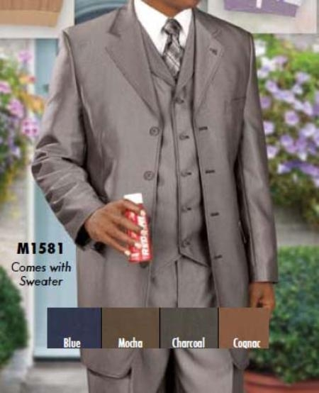 SKU#JR400 Four Piece Single Breasted Suit $219