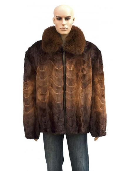 Buy GD867 Men's Fur Fox Collar Whiskey Front Paws Pull Zipper Jacket