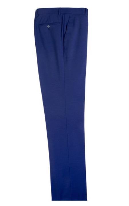 Buy SM4697 French Blue Men's Tiglio Dress Slacks Modern Fit Wool Fabric Flat Front Pants