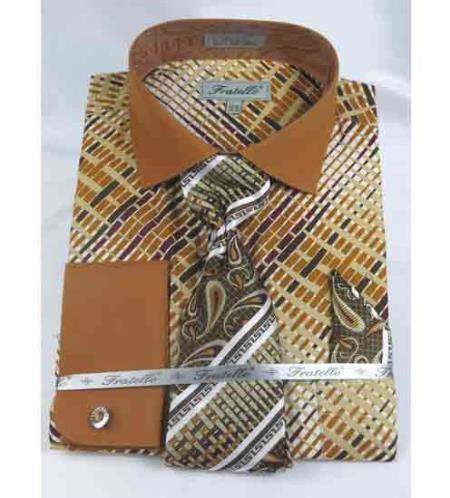 Beige Cotton Geometric Multi Pattern French Cuff With Collar Men's Dress Shirt