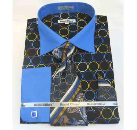 Circle Multi Pattern Cotton French Cuff Black Blue Men's Dress Shirt