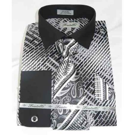 Black Geometric Multi Pattern Cotton French Cuff With Collar Mens Dress Shirt