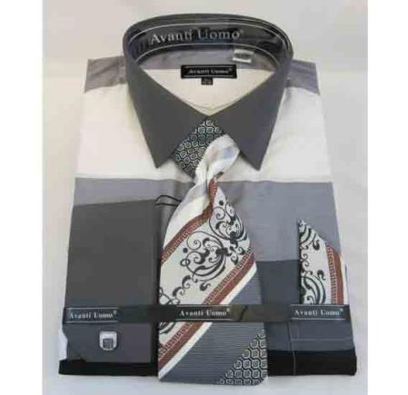 Black Multi Cotton French Cuff Colored Block Pattern Men's Dress Shirt