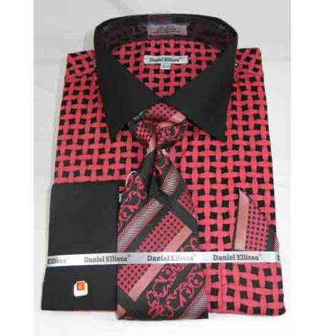 Mens Cotton Black Coral Large Basket Weave Pattern French Cuff Dress Shirt Salmon ~ Melon ~ Peachish Pinkish Color