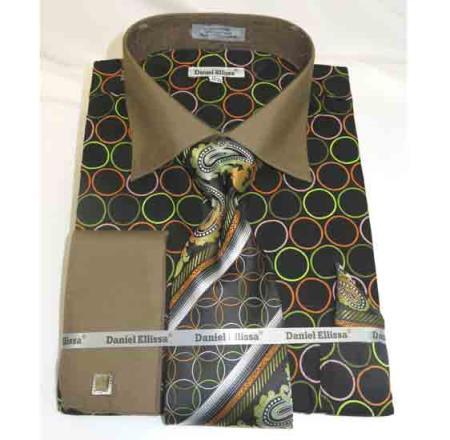 Black Taupe Circle Multi Pattern Cotton French Cuff Men's Dress Shirt