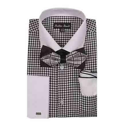 White Collar Black Two Toned Contrast Gingham Shirt